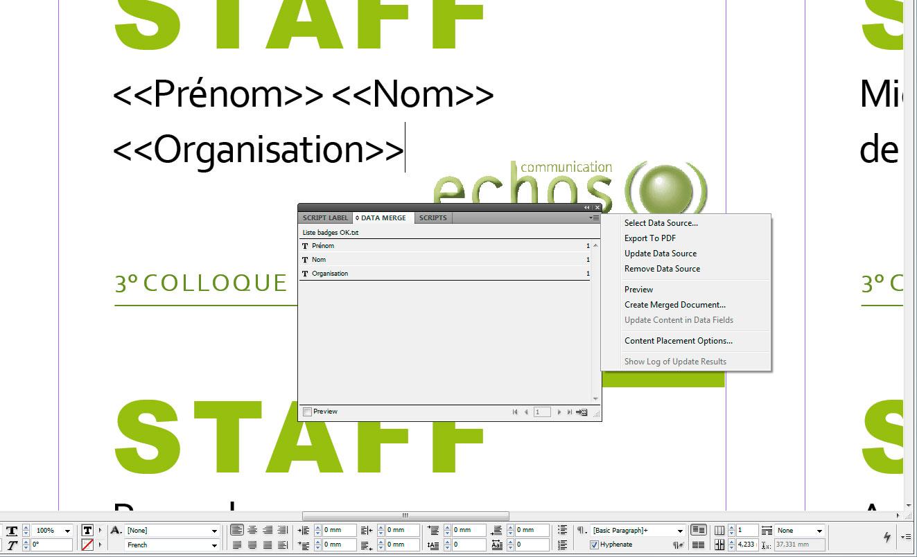 InDesign et bases de données