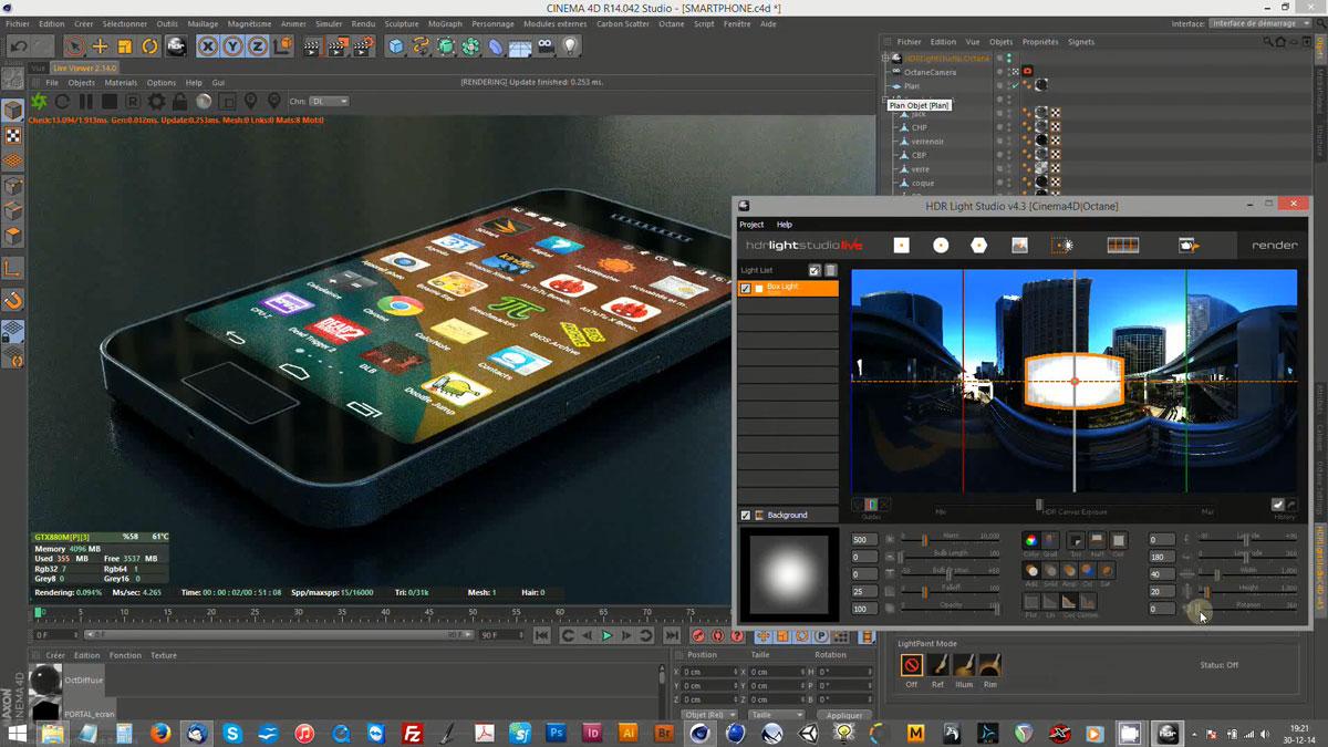 Démos vidéo Octane render et Cinema 4D