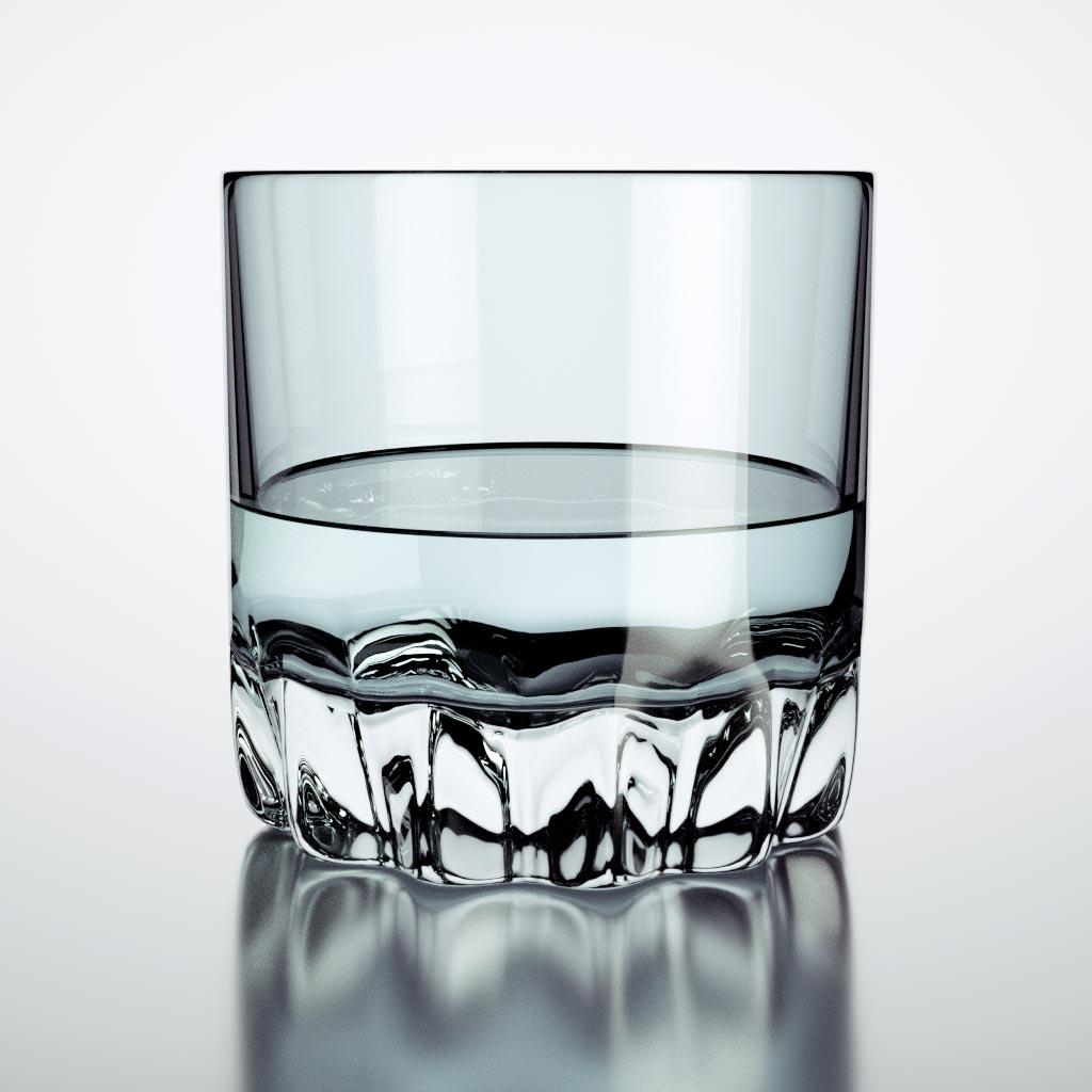 Octane render : verre et liquide